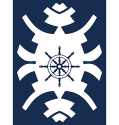 Navy blue and white hipster ornament with rudder vector