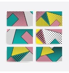 Colorful trend pop art geometric pattern set vector