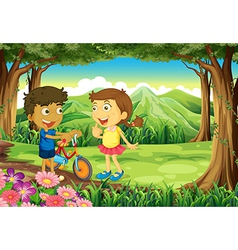 A forest with kids and a bike vector image vector image