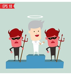 Angel and devil on winner podium - - eps10 vector