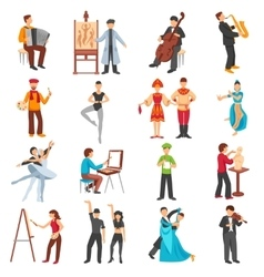 Artist people icons set vector