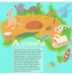Australia map concept cartoon style vector
