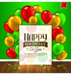 Birthday card colorful balloons confetti wooden vector