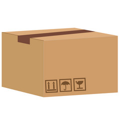 brown closed carton delivery packaging box with vector image