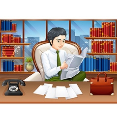 Businessman reading papers in the office vector image vector image