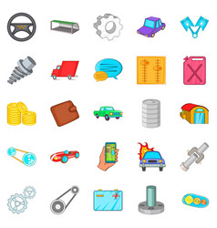 Car mending icons set cartoon style vector