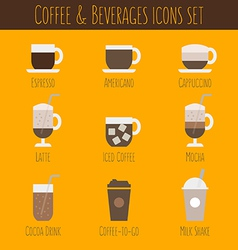 Coffee and beverages icons set vector