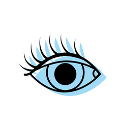 Color vision eye with eyelashes style design vector