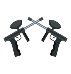Crossed paintball guns icon flat style vector