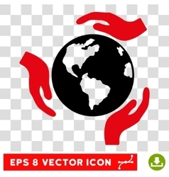 Earth protection hands eps icon vector