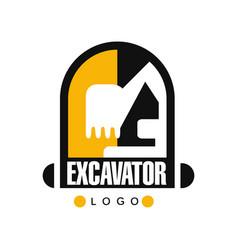 Excavator logo template backhoe service label vector