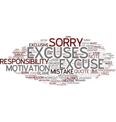 Excuse word cloud concept vector