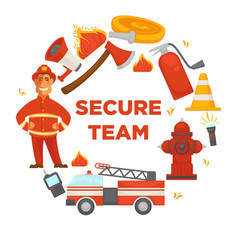 Fire protection secure team poster of firefighter vector