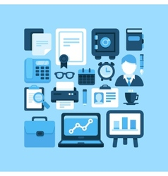 Flat office and business icons vector image vector image