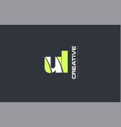 green letter ul u l combination logo icon company vector image vector image
