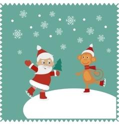 Greeting card with happy Santa and monkey skates vector image