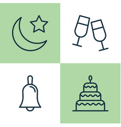 Holiday icons set collection of dessert vector