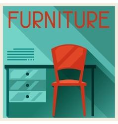 Interior with furniture in retro style vector
