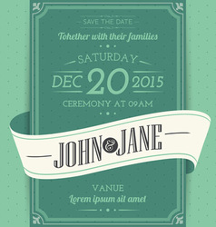 Invitation cards in an vintage style green vector