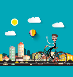 Man on bicycle in the city with small cars flat vector