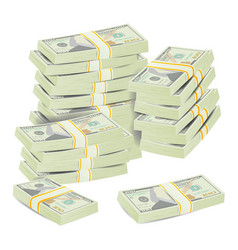 money stacks realistic concept 3d dollar vector image vector image