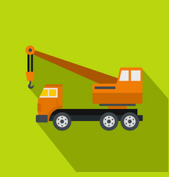 Orange truck crane icon flat style vector