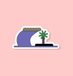 Paper sticker on stylish background tsunami island vector