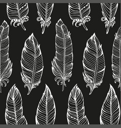 Seamless pattern hand drawn bird feathers vector