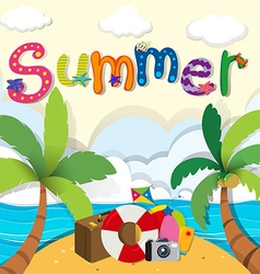 Summer theme with beach objects vector