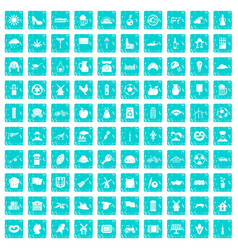 100 mill icons set grunge blue vector