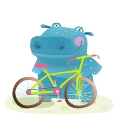 Kid cute hippo with bicycle childish cartoon vector