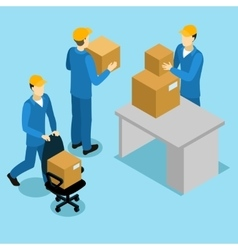 Delivery men at office isometric design vector