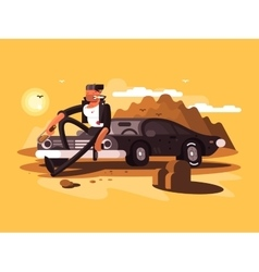 Tough man near car vector