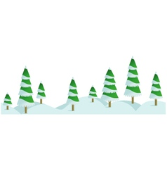 Snow winter forest in horizontal seamless border vector