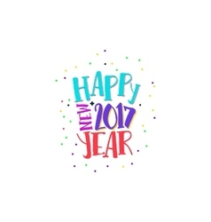 Happy new year label with bright colors vector