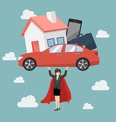 Business woman superhero carrying debt burden vector