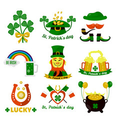 Symbols of ireland flag and horseshoe luck vector