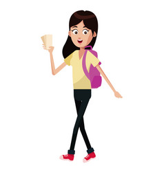 girl traveler backpack and tickets vector image