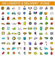 100 logistic and delivery icons set cartoon style vector