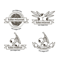 Hand drawn italian restaurant logos set vector