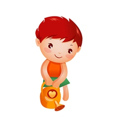 Boy holding watering can vector
