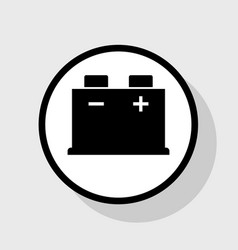 Car battery sign  flat black icon in white vector