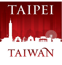 Taipei taiwan city skyline silhouette red vector