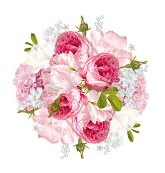 romantic flowers round banner vector image