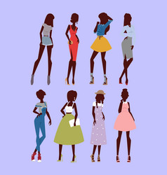 Fashion models woman silhouette sketch attractive vector