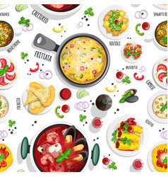 Collection of italian food top view iluustrations vector