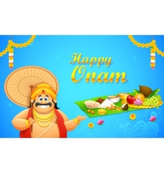 King mahabali in onam background vector
