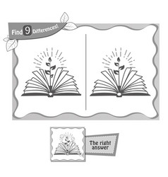 Game black find 9 differences book vector