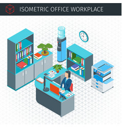 Isometric modern workplace vector