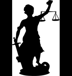 Femida themis silhouette a goddess of justice vector image